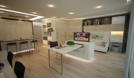 Häfele ile Bu evler Türkiye'de, Häfele, .hafele.com.tr, 40 metrekarelik bir dairede kullanılan teknoloji sayesinde evin büyüklüğü 74 metrekareye çıkabiliyor,