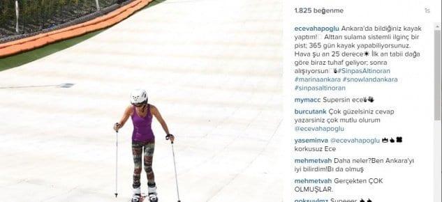 Ece Vahapoğlu Sinpaş Altınoran'da Kayak'ta!